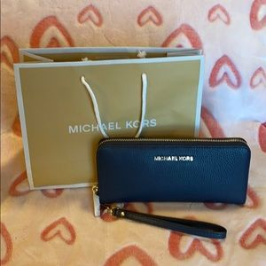 Michael Kors continental navy leather wallet